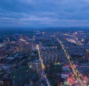 罗定泷洲新城夜景航拍